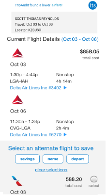 Cell phone showing alternate flight choice
